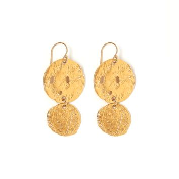 Tess and Tricia Lyra Gold Disc + Coin Earring