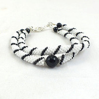 Black and white striped beads rope bracelet with black onyx- double bracelet- stackable bracelet- seed beads jewelry- beadwork- plus size