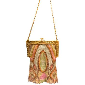 1920S Whiting & Davis Art Deco Pink/Orange Gold  Mesh Purse Vintage