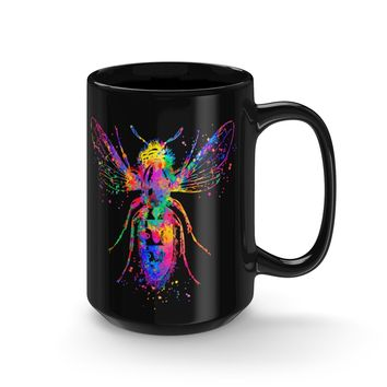 Watercolor Bee Black Mug 15oz