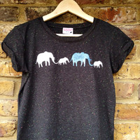 Elephants t-shirt- low carbon, organic, fairly traded, hand printed
