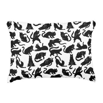 Vintage Whimsical Cat Fabric Accent Pillow