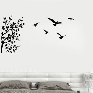 Vinyl Wall Decal Tree Branch Birds Leaves House Interior Stickers Unique Gift (ig4254)