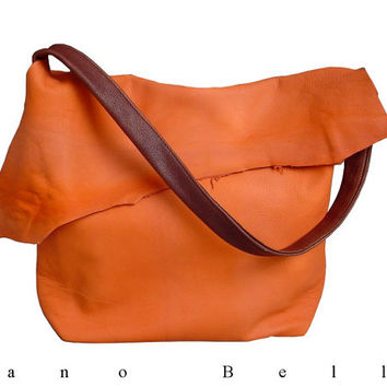 SALE Soft Leather Bag, Orange & Brown Goatskin, Slouchy Leather Bag,  Medium Tote Bag, Every day bag Shoulder bag