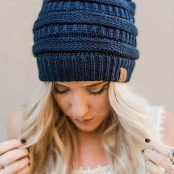 Knitted Pull On Beanie - Navy
