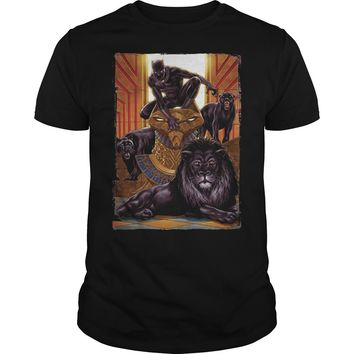 Black Panther King In the Lion's Den Graphic shirt Guys Tee