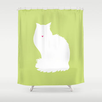Cat Silhouettes: Turkish Van Shower Curtain by CAPow!