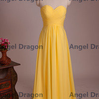 Angel Dragon Bridesmaid Chiffon Ruffle Long Yellow Prom Dress 2015
