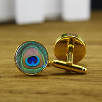 Peacock Cufflinks, Golden Cabochon Cuff Links,Wedding Accessories,Personalized Cuff Links,Mens Cufflinks