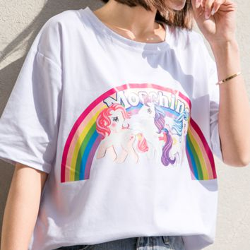Moschino Three ponies loose-fitting short-sleeved unicorn rainbow T-shirt women White