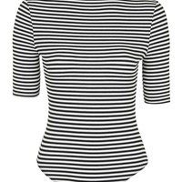 PETITE High Neck Stripe Body - Topshop
