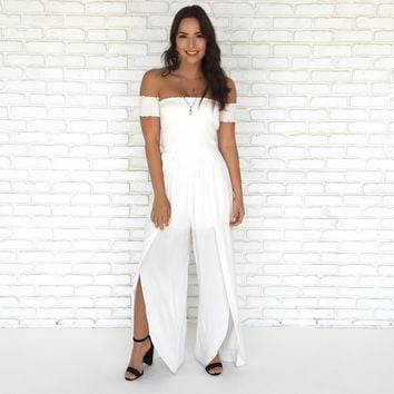 Take Me Away Tulip Jumpsuit in White