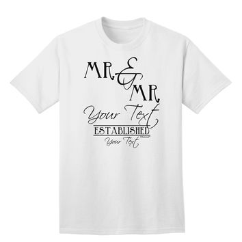 Personalized Mr and Mr Name Established Date GAY COUPLE Adult T-Shirt
