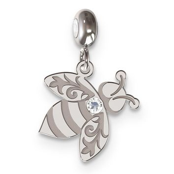 MeMi Sterling Silver Bee with Clear Swarovski Charm