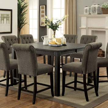 Furniture of america CM3324BK-PT-54-GY-9PC 9 pc Sania III antique black finish wood counter height dining table set with gray chairs