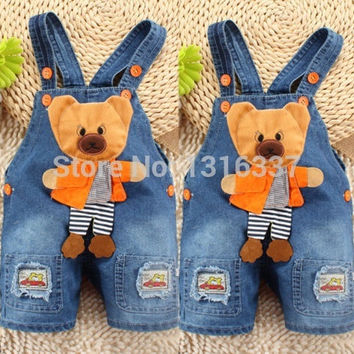 Newborn Baby Girls Boys Kids Denim Jeans One-pieces bear Rompers Playsuits Clothes = 1930251140