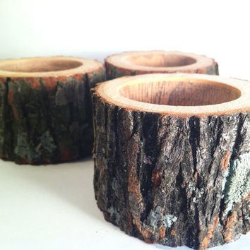 Tree Branch Candle Holders Rustic Candle Sticks Log by Worleys