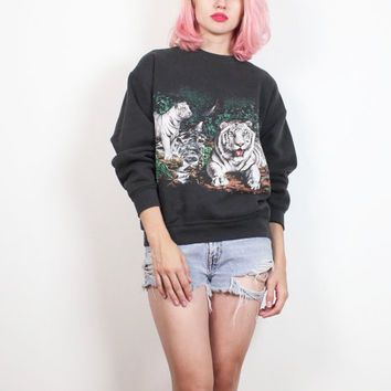 Vintage 1980s Sweatshirt Faded Black White Tiger Cat Screen Print Long Sleeve Tshirt Jumper 80s Novelty Print Nature Boho Sweater M Medium L