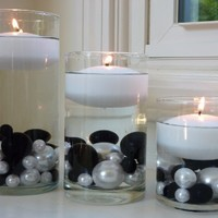 """3 White Floating Candles Value Pack - 3"""" Diameter Each...NOT INCLUDING THE PEARLS...FREE SHIPPING"""