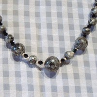 Black, silver, polymer clay bead necklace