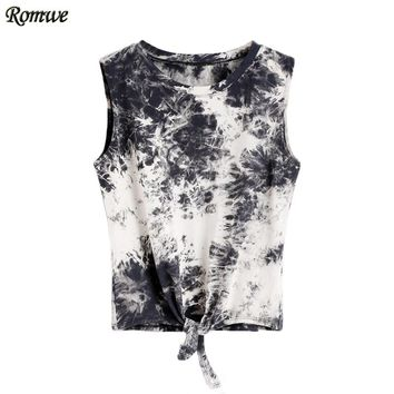 Summer Beach Rock Party Tank Women Sleeveless Top Women Multicolor Round Neck Sleeveless Tie Dye Knot Front