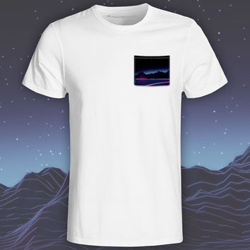 Neon Highway White Pocket Tee