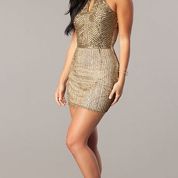Beaded Homecoming Dress with a Keyhole Cut Out