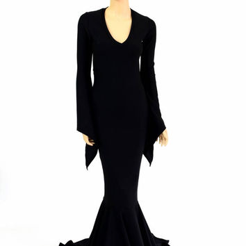 Black Zen Soft Knit Morticia V-Neck Gown with Long Pixie Sleeves and Puddle Train Formal Gothic Witch Vampire Costume 154633