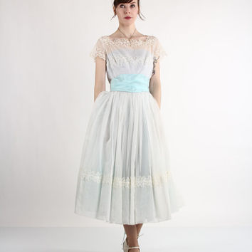 1950s Ball Gown by 'Emma Domb' . Robins Egg Blue. Princess. Prom. Cinderella
