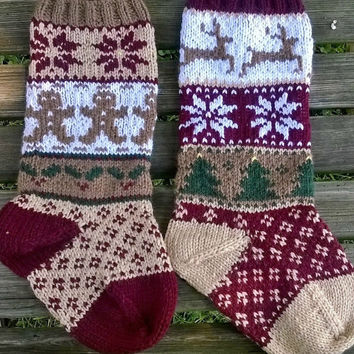 Rustic Christmas Stockings PDF Pattern, Fair Isle Stocking Pattern