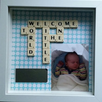 Personalised keepsake baby newborn and christening gift box frame scrabble art letters Welcome to the world little one. Baby first keepsake