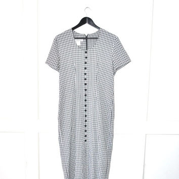 black + white plaid vintage dress early 90s GRUNGE dress button front long plaid midi dress