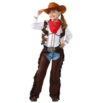 Child Cowgirl Chaps Costume 6pcs/set Cosplay Saddling Costumes Holiday Role Playing Clothing Costum
