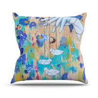 "Kira Crees ""Origami Strings"" Outdoor Throw Pillow"