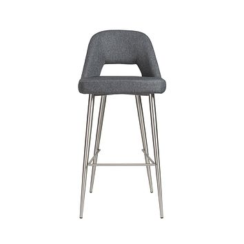 Blair-B Bar Stool in dark gray fabric with brushed stainless steel legs