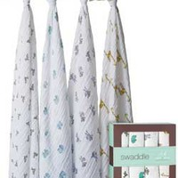 aden + anais Classic Muslin Swaddle Blanket 4 Pack, Princess Posie