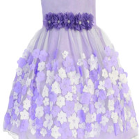 Tulle Overlay Lavender Satin Dress with Dimensional Taffeta Flowers  (Baby Girls)