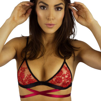 EastNWestLabel Red Gamma Bralette