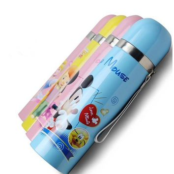High Quality Cartoon Stainless Steel Vacuum Flasks 350ml/500ml Thermos Mug Cup With Rope Thermal Water Bottle Kids Thermocup