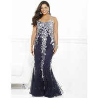 Faviana 2013 Prom - Navy Sequin & Tulle Prom Dress - Unique Vintage - Prom dresses, retro dresses, retro swimsuits.