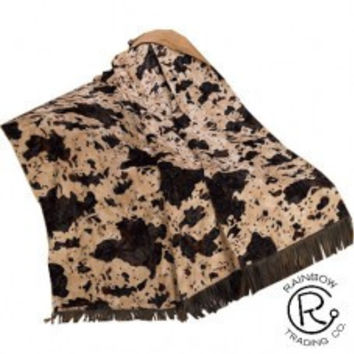 Fringed Tooled Faux Leather/Cowhide Throw