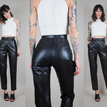 Shop 80s Leather Pants on Wanelo