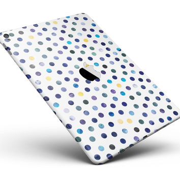 """Dark Blue and Yellow Watercolor Dots over White Full Body Skin for the iPad Pro (12.9"""" or 9.7"""" available)"""