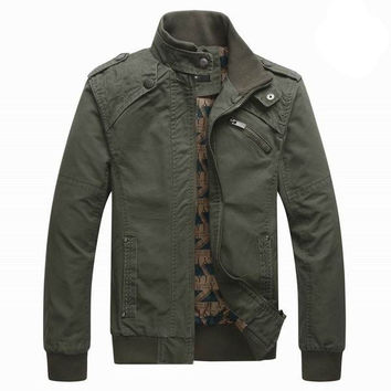 Men's Spring Fall Thin Pure Cotton Rib-knit Stand Collar Jacket Coat