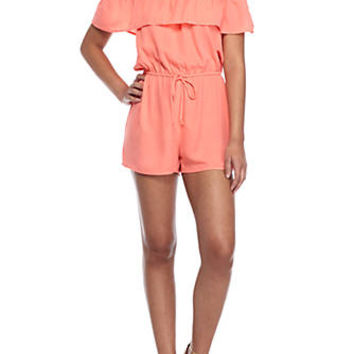 BeBop Ruffle Off-the-Shoulder Romper