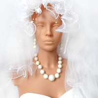 Wedding jewelry set. White wedding necklace & earrings, hand felted with love, white felt balls, beads,eco-frienly,classic jewelry for woman