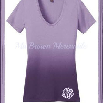 Monogrammed Plus Size Shirt - Ombre Rounded Deep V-neck - Short Sleeve T-Shirt - Personalized Faded Tee - Short Sleeve Shirt (DM4310)
