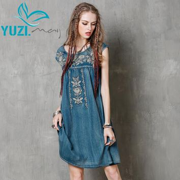 Women Summer Dress New Denim O-Neck A-line Embroidery Loose High Waist  Thin Sundresses