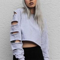 Trainingspak Crop Top Hoodie Women Grey Sexy Cutout Sweatshirt 2017 Brand Hipster Ladies Sportwear Harajuku Hoodie