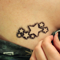 Stencil Stars Temporary Tattoo set of 2